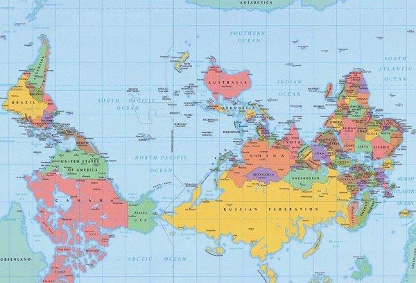 világtérkép fejjel lefelé