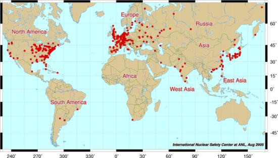 atomerőművek a világban